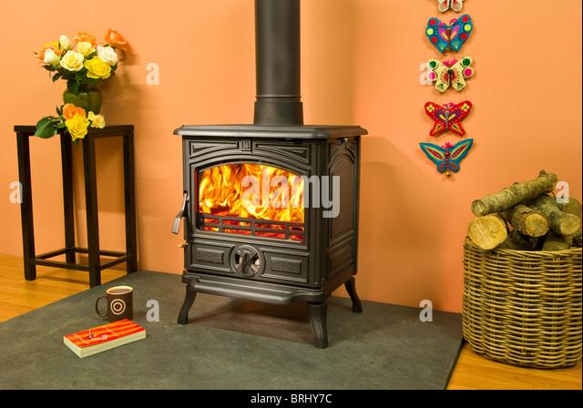 Wood burning stoves stock photos