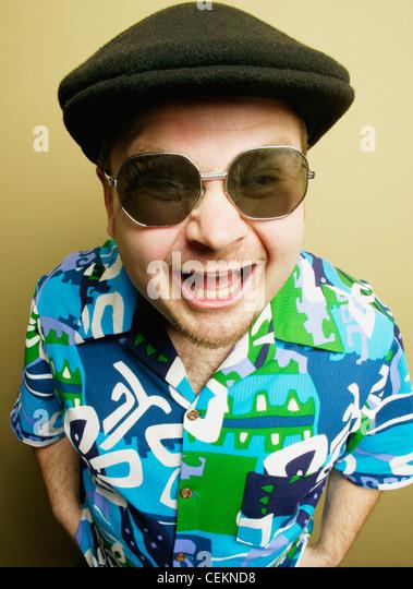 A Man With Loud Shirt - Stock Image