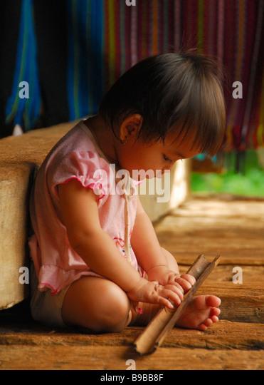 Young Village Girl, Rural Laos - Stock-Bilder