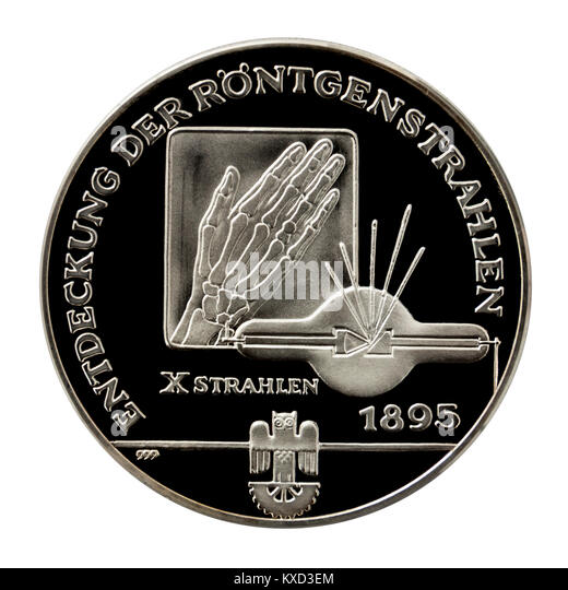 99.9% Proof Silver Medallion celebrating the discovery of X-rays by Wilhelm Conrad Röntgen, the famous German - Stock Image