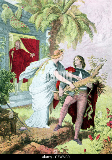 Miranda falls in love with Alonso's son, Ferdinand. From the doorway, Prospero, duke of Milan, watches the two. - Stock Image