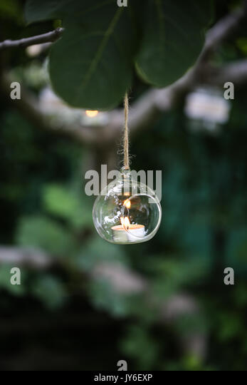 glass candle holder - Stock Image