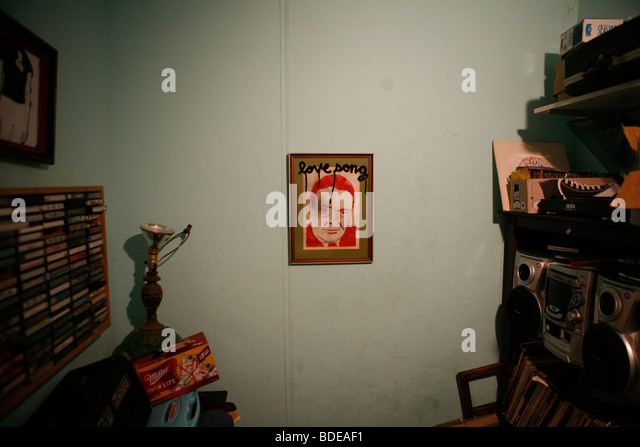 A stencil art painting hangs in a room at the Well, well, well punk house on 9th Street in Bloomington, Indiana. - Stock-Bilder