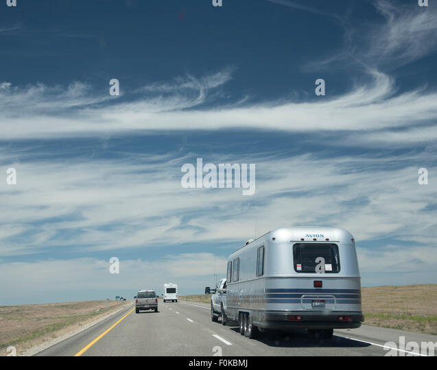 Transportation, Cars and Motorhome traveling on Interstate I-84 Highway near Boise, Idaho, USA - Stock Image