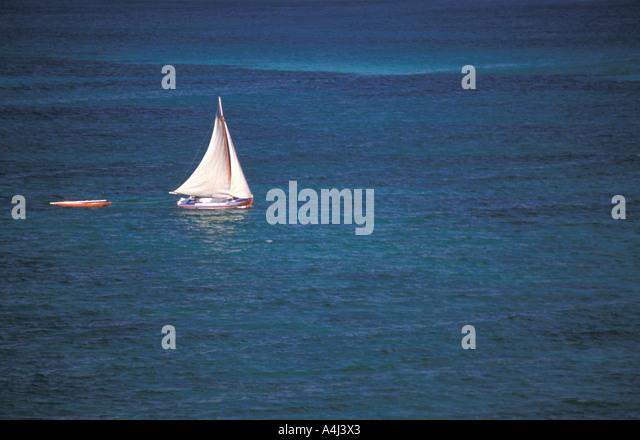 Bahamas small sail boat open ocean - Stock Image