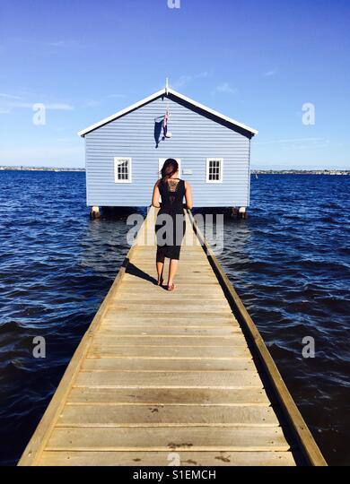 Perth blue boat house - Stock-Bilder