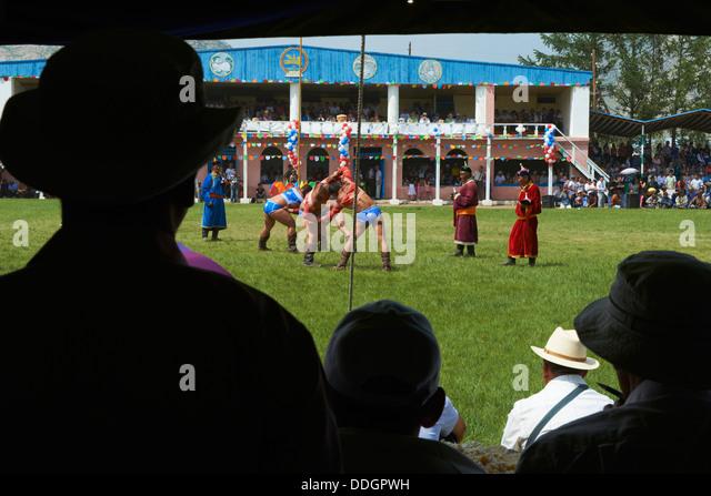 Mongolia, Arkhangai province, Tsetserleg, Naadam festival, wrestling tournament - Stock Image