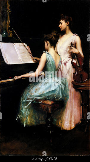 Irving R. Wiles, The Sonata 1889 Oil on canvas. Fine Arts Museums of San Francisco, San Francisco, USA. - Stock-Bilder