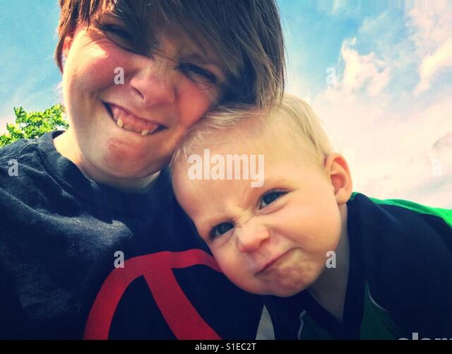 Funny ma and son - Stock Image