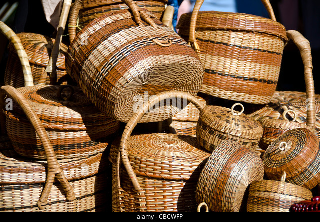 Dominica Carib Indian traditional woven baskets - Stock Image