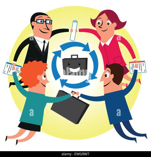 Business people showing spirit of teamwork - Stock Image