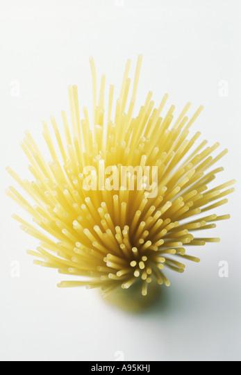 Bundle of spaghetti, directly above - Stock Image
