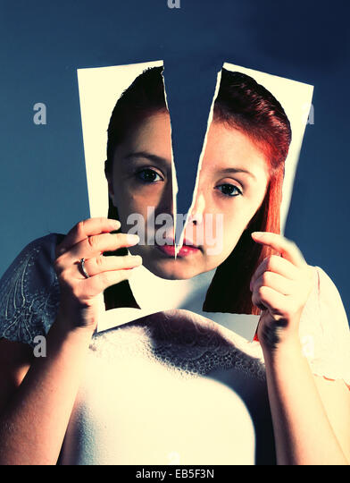 A torn personality. - Stock Image