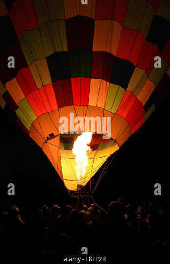 USA, Utah, Eden, Hot Air Balloon taking off during Ogden Valley Balloon Festival - Stock-Bilder