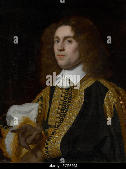 Portrait of a Young Man in Military Costume; Bartholomeus van der Helst, Dutch, 1613 - 1670; 1650; Oil on canvas; - Stock Image