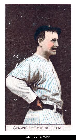 Frank Chance, Chicago Cubs, baseball card portrait, baseball card portrait 1912 - Stock Image