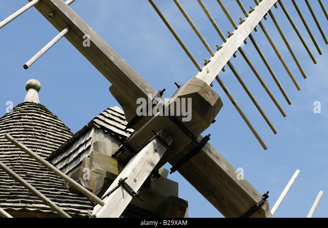 Windmill at Pointe du Van , Brittany France - Stock Image