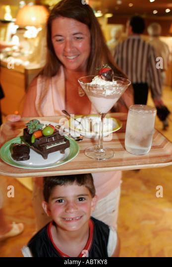 Puerto Rico Atlantic Ocean Holland America Line ms Noordam Lido Restaurant Chocolate Extravaganza dessert family - Stock Image