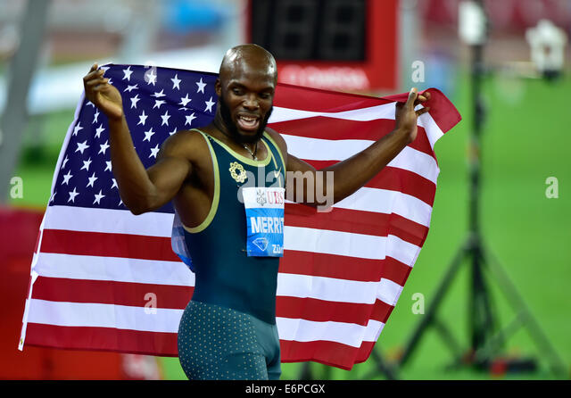 Zurich, Switzerland. 28th Aug, 2014. Victory for LaShawn Merritt (USA) at the 400m race at the IAAF Diamond League - Stock-Bilder