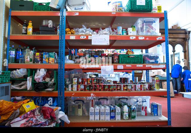 Food bank Shelves - Stock Image