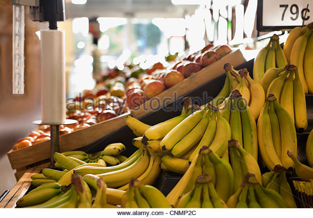 Produce for sale in supermarket - Stock Image