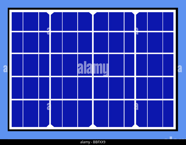 Solar panels and cells isolated on blue sky background - Stock Image