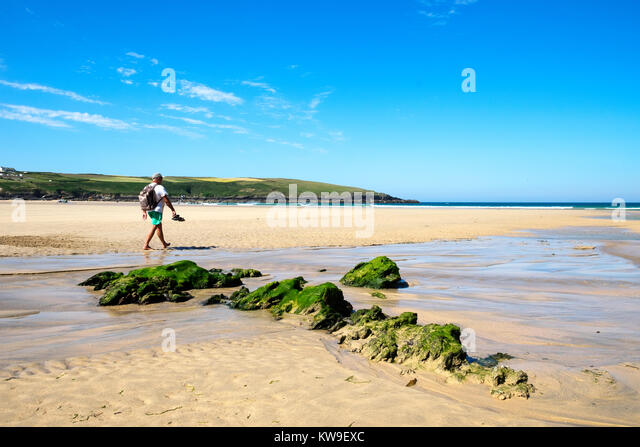 summer on the vast sandy beach at crantock bay near newquay in cornwall, england, britain, uk, - Stock Image