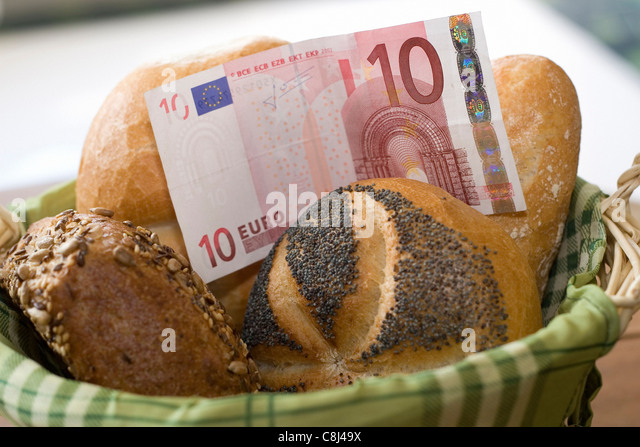 Food, bread rolls, bun, Waking up, Buns, money, bank note, bill, pay, pay, costs, expenses, price, price increase, - Stock Image