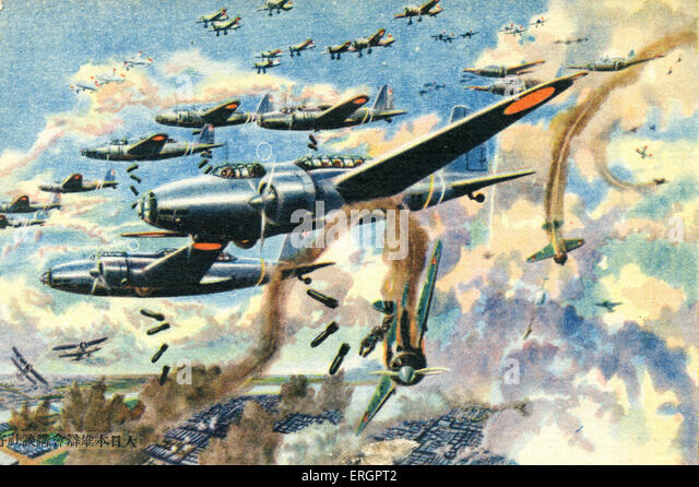 Japanese bombers in World War II. Caption reads: Airplanes from the Imperial Japanese Army are bombing an enemy - Stock Image