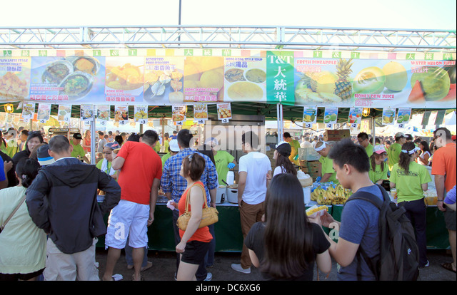 People at an Asian food festival in Downtown Toronto, Canada - Stock Image