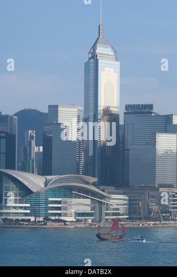 Asia, Hong Kong. Hong Kong city skyline view from Victoria Harbor. - Stock Image
