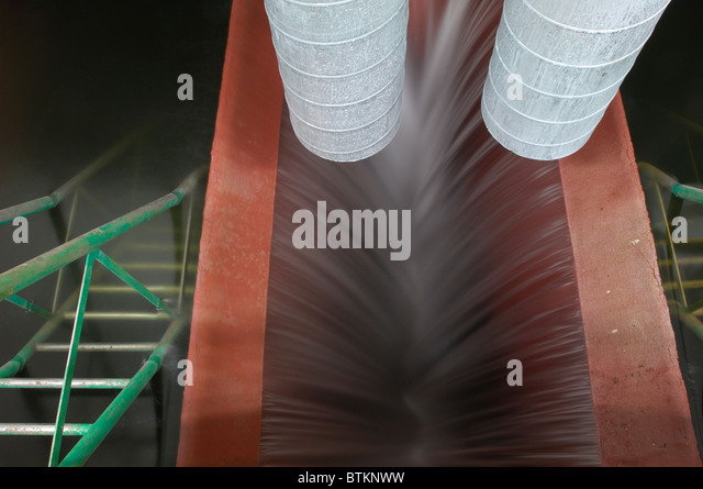 An intake structure for raw water with an overflow, Esch-sur-Sure, Luxembourg - Stock Image