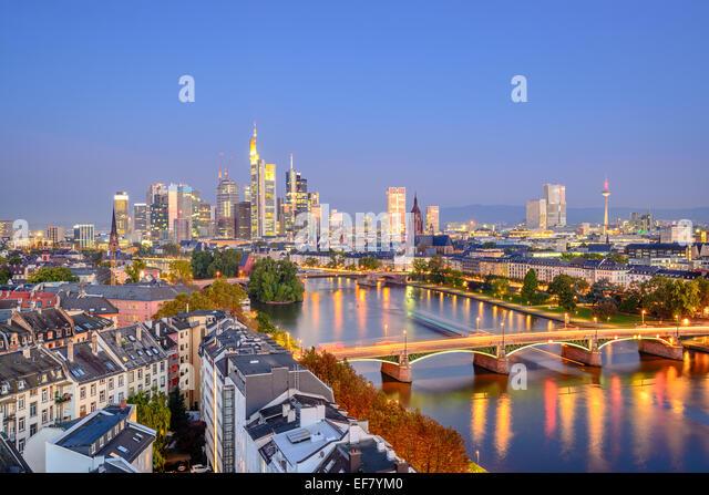 Frankfurt, Germany city skyline over the Main River. - Stock Image