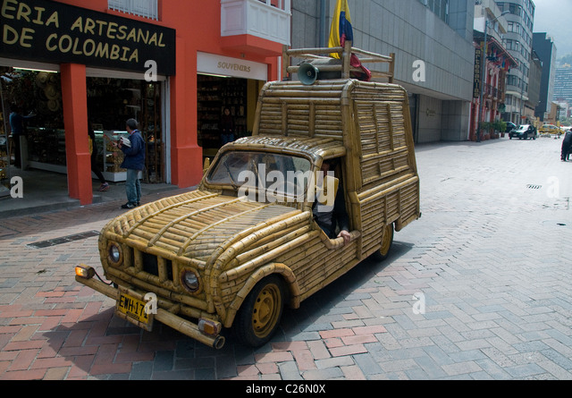 Bogota Colombia is an interesting city in South America having some unique vehicles on the street such as this bamboo - Stock Image