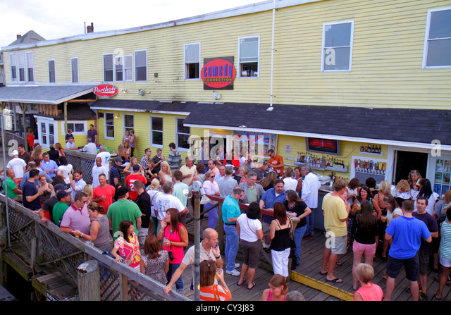 Portland Maine Historic Old Port District Custom House Wharf Comedy Connection Cruise passengers club nightlife - Stock Image