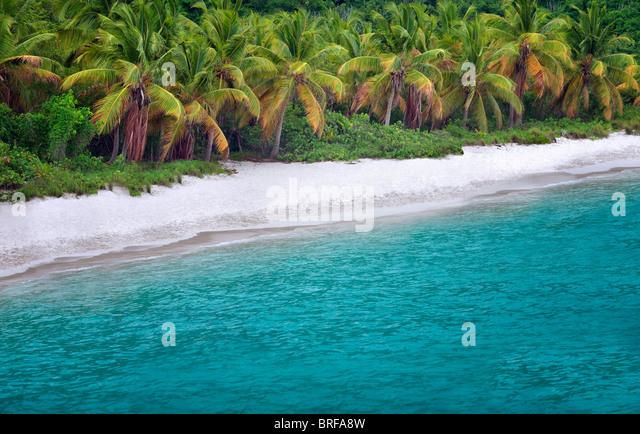 Beach at Jost Van Dyke, British Virgin Islands. - Stock Image