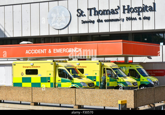 Accident and Emergency A&E department at St Thomas' Hospital ambulance drop off bay and canopy London England - Stock Image