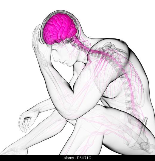 Depression, conceptual artwork - Stock Image