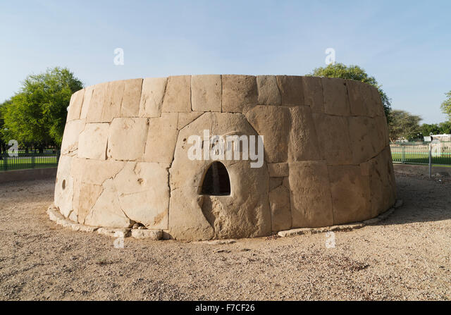 Hili Grand Tomb in Hili Archaeological Garden (with remains of Bronze Age settlements) in Al Ain United Arab Emirates. - Stock Image