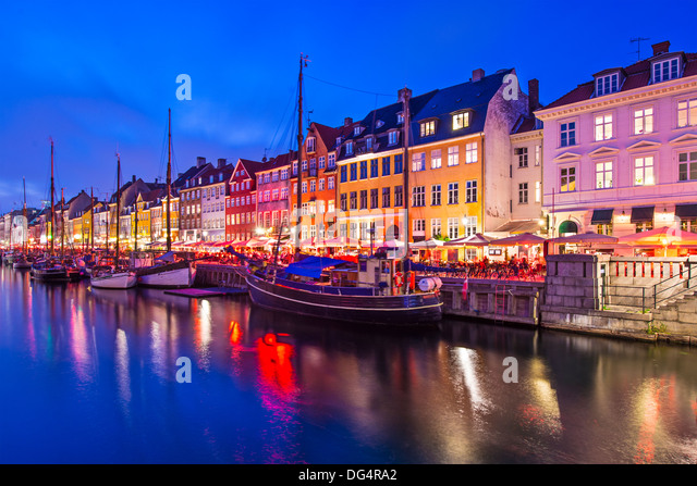 Nyhavn Canal in Copenhagen, Demark. - Stock-Bilder