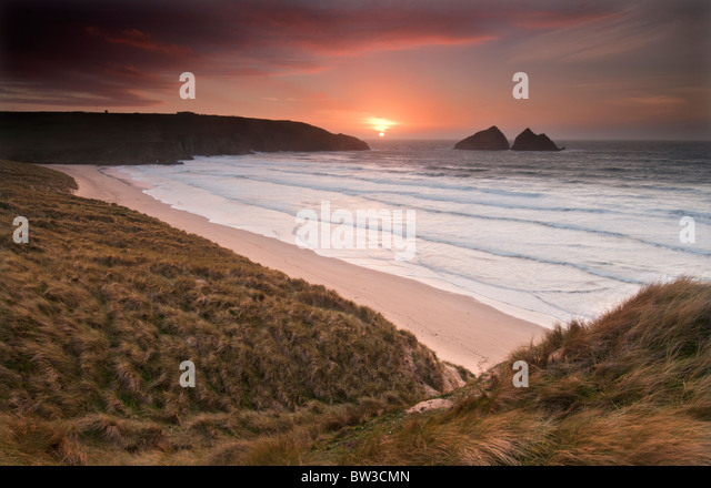 Sunset at Holywell bay near Newquay on the North Cornish coast - Stock Image