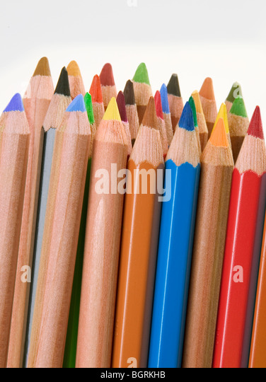 Selection of colouring drawing pencils - Stock Image