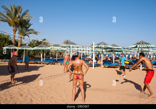 Game of Volleyball on a beach in Egypt - Stock Image