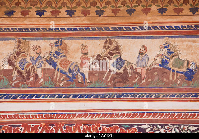 Men next to rearing horses. Fresco in a private mansion (Haveli), Nawalgarh, Rajasthan, Indien - Stock-Bilder