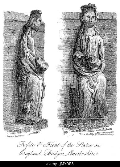 Engraving of the Profile & Front of the Statue on Croyland Bridge (Trinity Bridge, Crowland) Lincolnshire scanned - Stock Image
