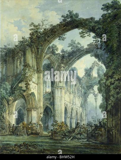 Interior of Tintern Abbey, by J.M.W. Turner. England, 19th century - Stock-Bilder