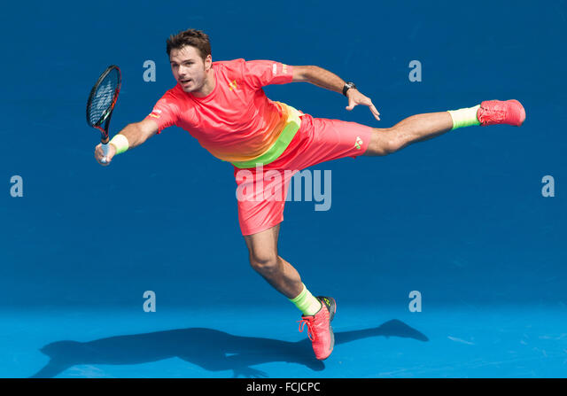 Melbourne, Australia. 23rd Jan, 2016. Stan Wawrinka of Switzerland in action in a 3rd round match against Lukas - Stock Image