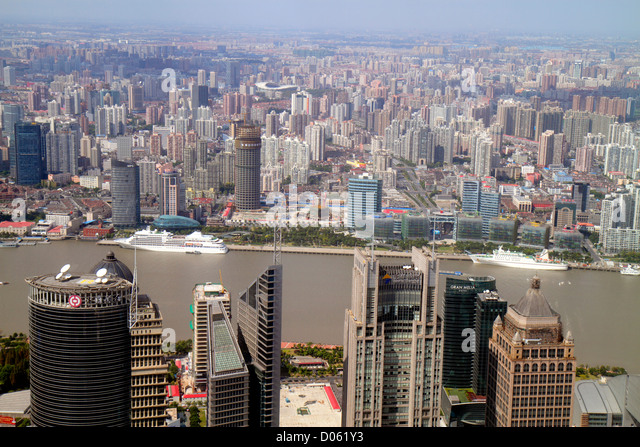 Shanghai China Pudong Lujiazui Financial District Shanghai World Financial Center centre Park Hyatt hotel view from - Stock Image