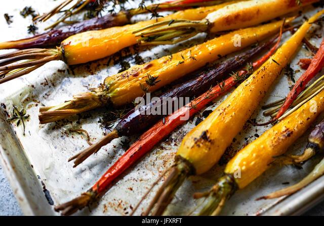 roasted rainbow carrots - Stock Image