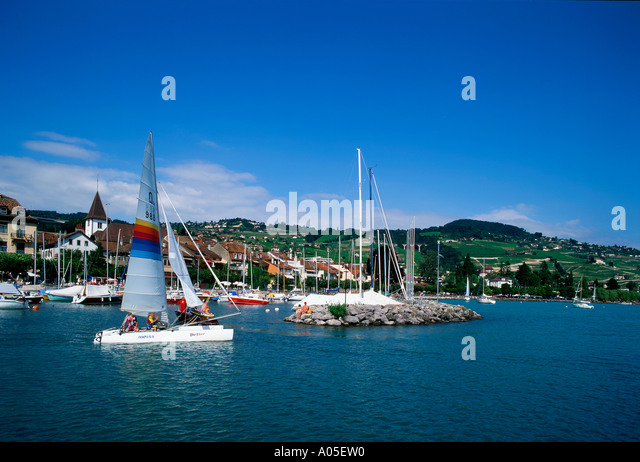 Switzerland Lac Leman Lutry sailing boat - Stock Image